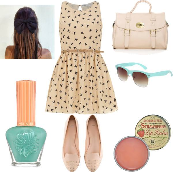 Day outfit: Dorothy Perkins dress, cream flats with spikes and mint nail polish and sunglasses to spice up the neutrals