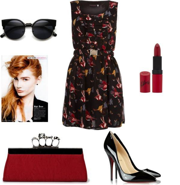 Tenki dress, pointed pumps and red lipstick. Sunglasses add to the diva look. P.S. you can wear this as a day outfit, heads will turn :)