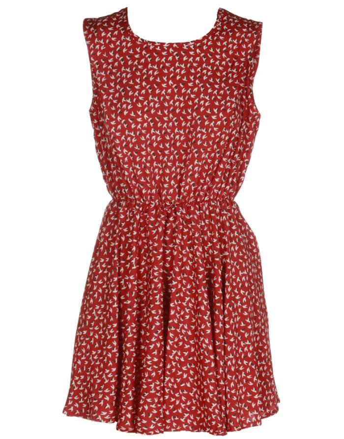 o-red-sleeveless-bird-print-dress-9669