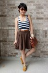 mustard-shoes-tawny-purse-white-striped-anchor-blue-top-brown-skirt