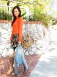 Orange-Sweater-Layered-Over-Summer-Dress-3
