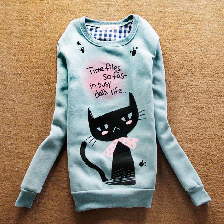 2012-Hot-sell-Women-casual-long-Hoodies-pullover-women-s-Jacket-ladies-cat-printed-casual-hoodie