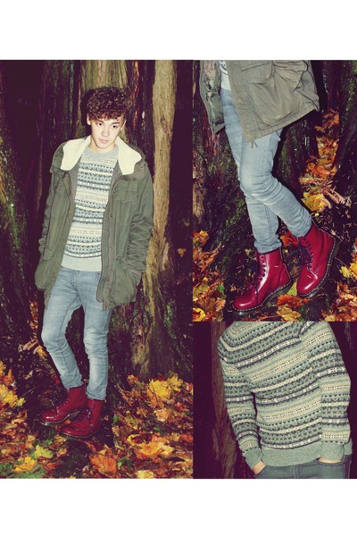 Josh - http://www.chictopia.com/photo/show/764270-Desired+My+Attention+But+Denied+My+Affections-1460-cherry-red-dr-martens-boots-parka-h-m-coat-skinny-jeans-jeans