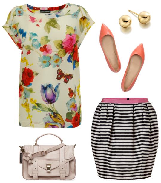 flower power floral shirt striped skirt