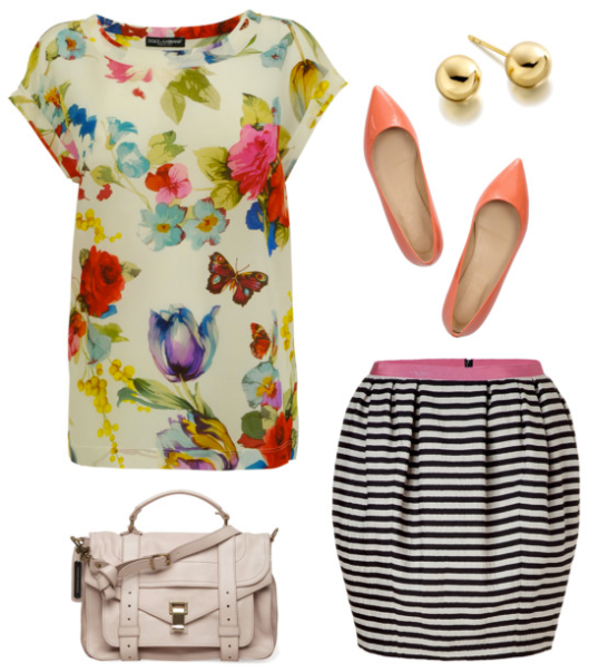 flower power floral shirt striped skirt
