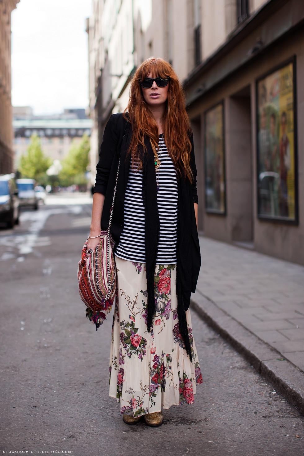 maxi-floral-skirt-striped-tshirt