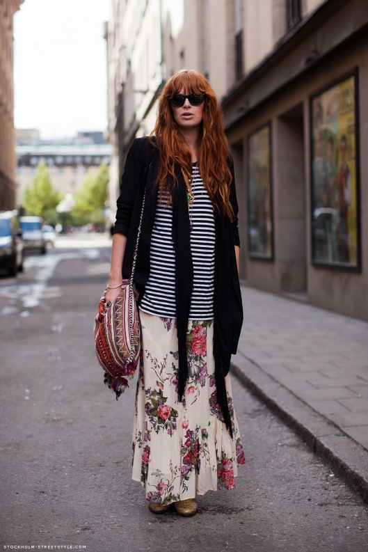 maxi-floral-skirt-striped-tshirt