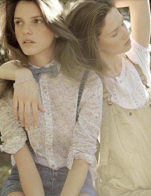 Grey Bow Tie Worn on Girl Model