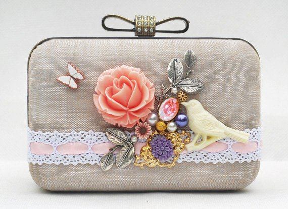 flower bird fairy box clutch pink beige white khaki cotton linen butterfly wedding brides bridemaids-f36448