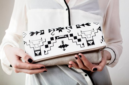 Tribal Patterned Leather Clutch