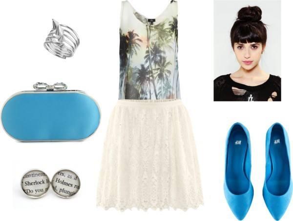 Top: Mango/Skirt and Flats: H&M/Clutch: Lulu Townsend/Ring: Miss Selfridge/Earrings: etsy.com