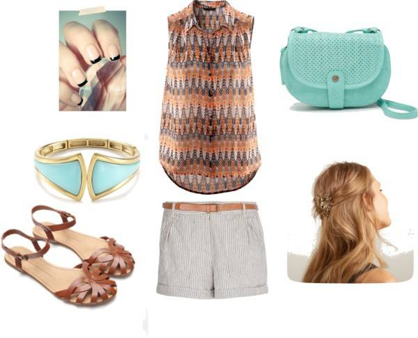 Blouse: H&M/Shorts: Mango/Sandals: Bershka/Purse: Roxy/Bracelet: T Tahari