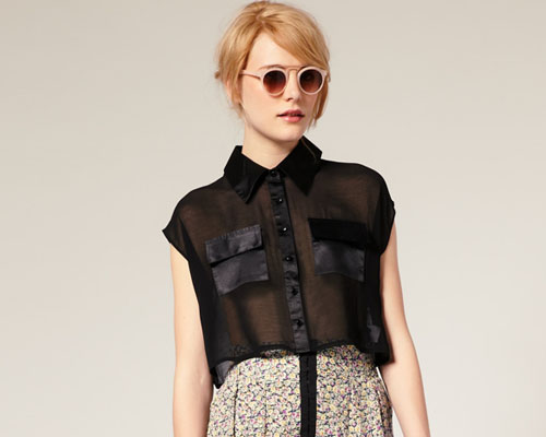 asos sheer crop shirt