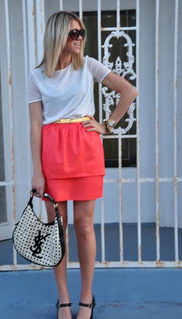 h&m coral mini skirt 6