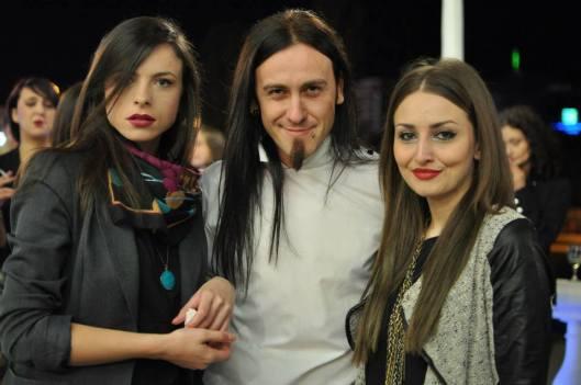 Designer Robert Ivanovski (center) with friends