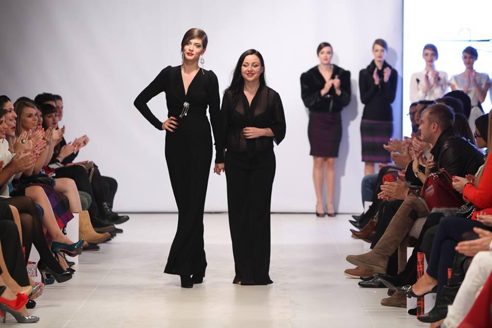Model Maja Ristevska with designer Marjana Rujanoska