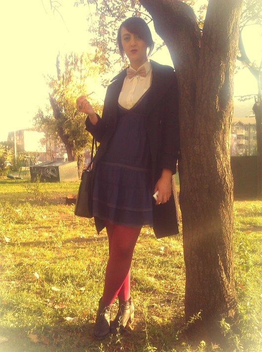 White shirt: vintage; Navy dress: Stradivarius; Bow-tie & Oxford shoes: Old Bazaar Skopje; Burgundi tights: Penti; Black coat: Lukas Shopping Center Prilep; Black leather laptop bag: vintage Samsonite