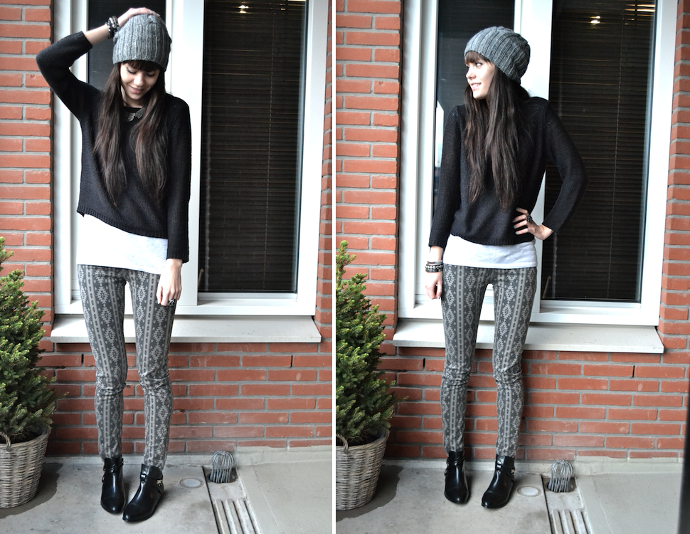 outfit grey aztec print jeans black jumper grey beanie chelsea boots