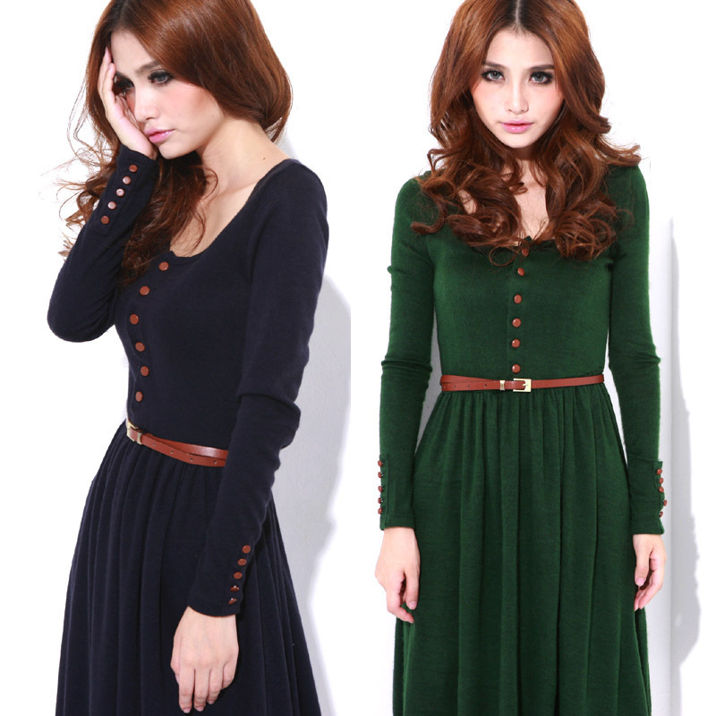 2013-new-dress-2012-autumn-and-winter-vintage-basic-knitted-one ...