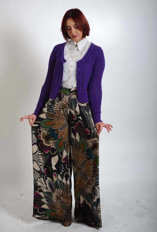 Bershka wide legged pants/ La Rosa pelted cardigan/ Vintage sleeveless shirt/ Marina Marinski birdie necklace