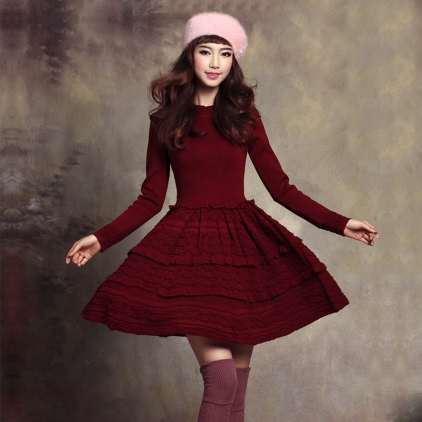 Free-Shipping-Autumn-And-Winter-Vintage-Dress-Expansion-Bottom-Jacquard-Knitted-Dress-With-High-Quality