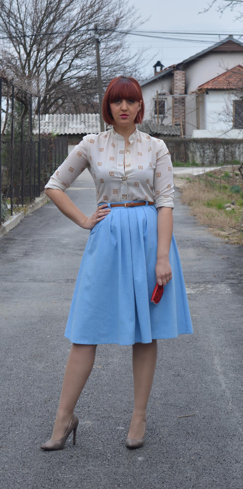 baby blue vintage skirt vintage blouse half pointed stilletos Bershka belt watermelon purse 2