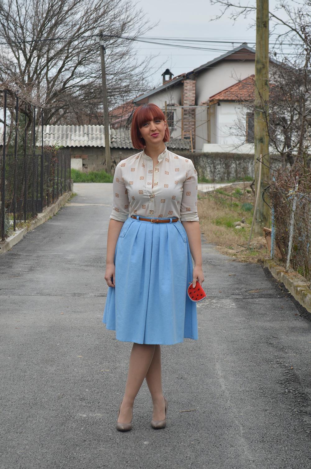 baby blue vintage skirt vintage blouse half pointed stilletos Bershka belt watermelon purse