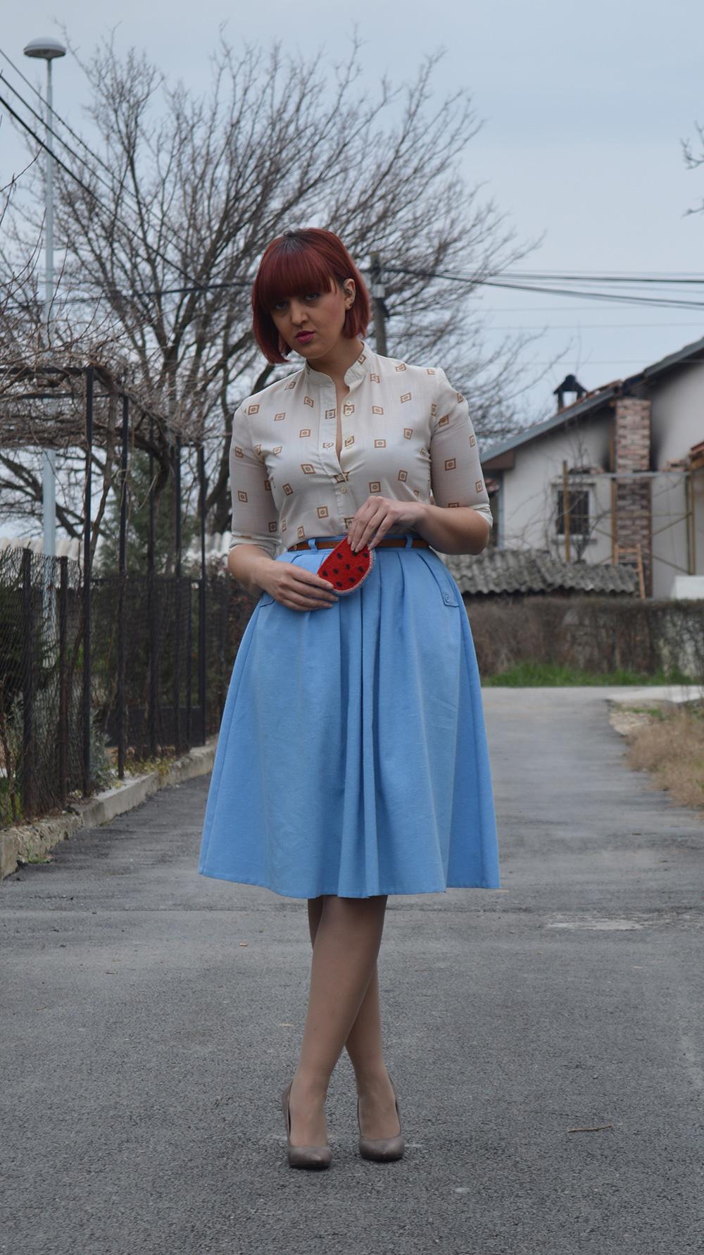 baby blue vintage skirt vintage shirt half pointed stilettos watermelon purse