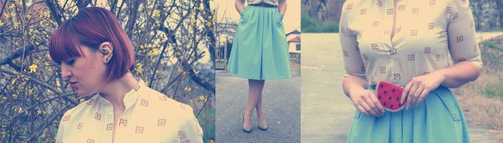 mix baby blue vintage skirt vintage blouse half pointed stilletos Bershka belt watermelon purse