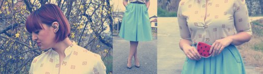 mix baby blue vintage skirt vintage blouse half pointed stilletos Bershka belt watermelon purse